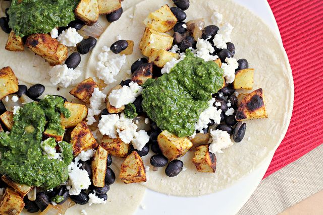 Sweet Potato and Black Bean Tacos with Swiss Chard Pesto by Eats Well ...