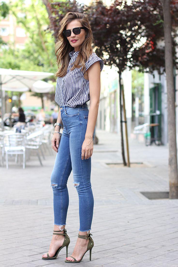 high waist jeans, gingham print/ vaqueros tiro alto -lady addict