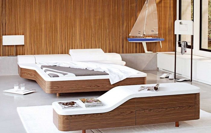 Modern walnut white unique platform bed furniture for Cool contemporary beds