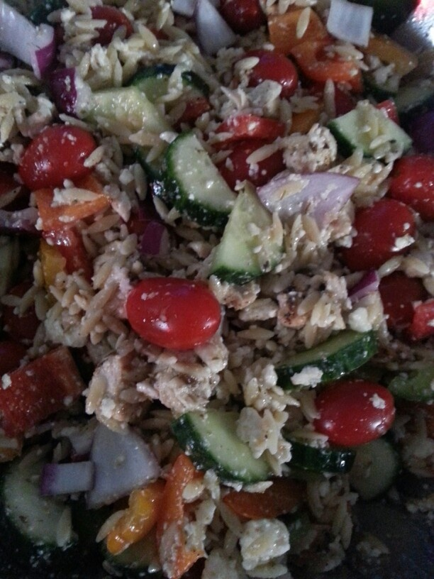 feta cheese green red and orange peppers cherry tomatoes red onion ...