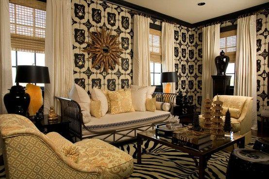 Black white and gold living room pinterest - Black white and gold room ...