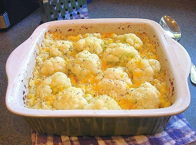 Baked Cauliflower Gratin   ... mashed, some whole florets, all baked ...