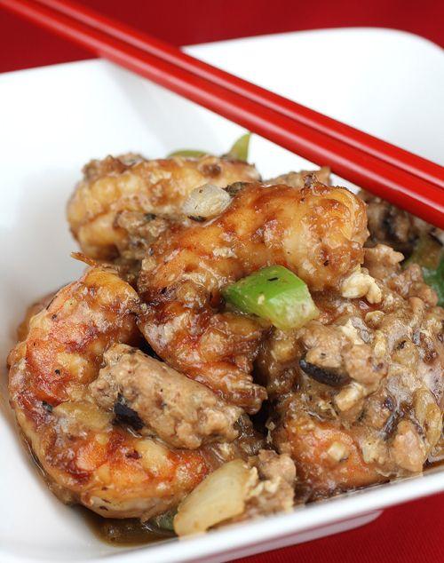 My Mom's version of prawns stir-fried with ground pork, onions, green ...