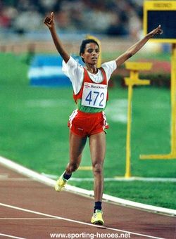 Oromo athlete as she won the women's 10000 meters race in the Barcelona Olympics in 1992. http://www.oromiasports.com/athletics.html