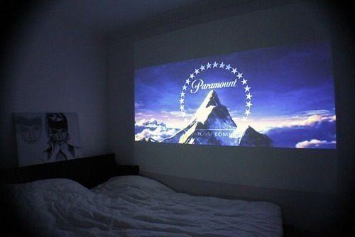 projector in bedroom love it basement pinterest