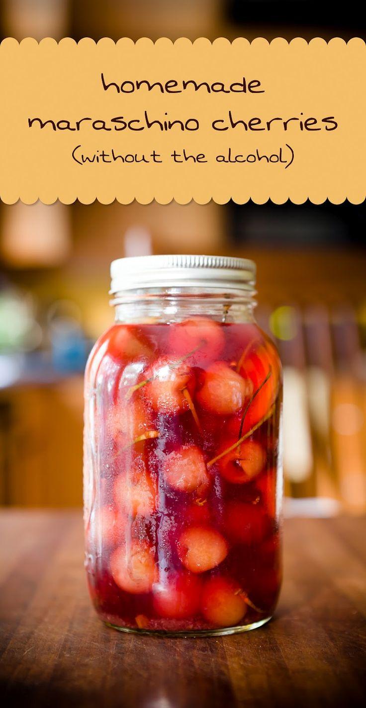 """Homemade """"Maraschino"""" Cherries {without the alcohol} ~ These cherri..."""