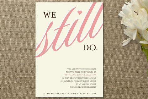 anniversary invitation pink renew vows