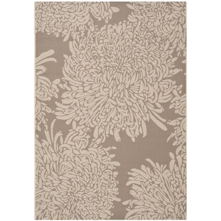Martha Stewart Chrysanthemum Dark Beige Beige Indoor Outdoor Rug 5