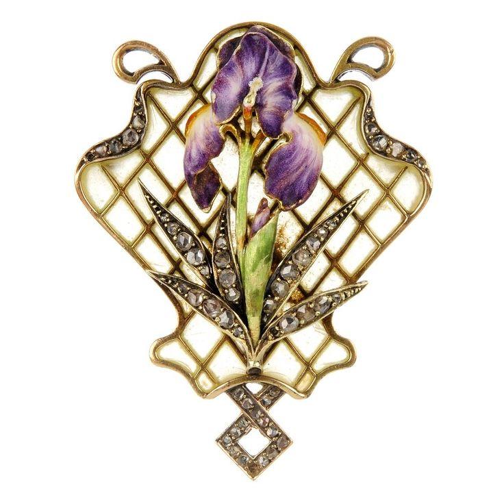 A mid 20th century gold, rose-cut diamond and purple and white enamel iris brooch with plique-a-jour enamel latticework surmount