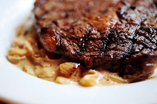 Grilled Ribeye Steak with Onion Blue Cheese Sauce | Recipe
