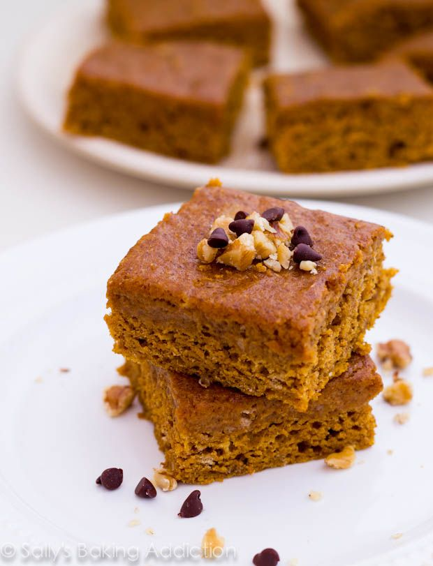 Lightened Up Pumpkin Spice Bars by Sallys Baking Addiction. Uses 1 cup ...