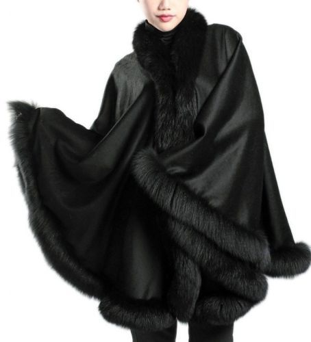 Black Cashmere Cape Wrap Shawl With Fox Fur Trim New