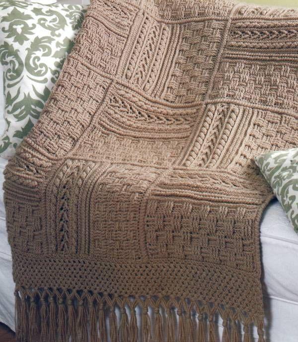 Crochet Pattern Aran Afghan : 5 Stunning Aran Afghans Basketweave Sampler Crochet ...