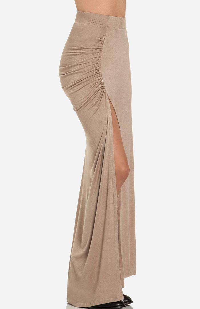 ruched side slit maxi skirt closet