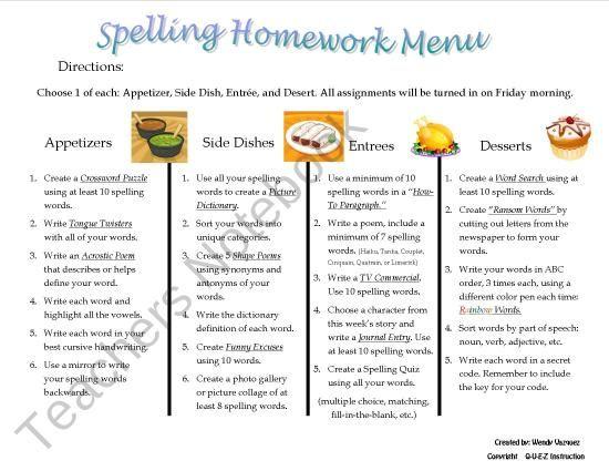 Spelling homework abc order