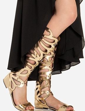 leather jewelry for women Scalloped Gladiator Sandals  Fashion