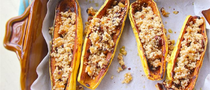 Spicy Squash Boats with Fruity Quinoa Pilaf | Yummly