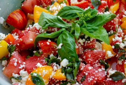 heirloom tomato and watermelon salad with feta