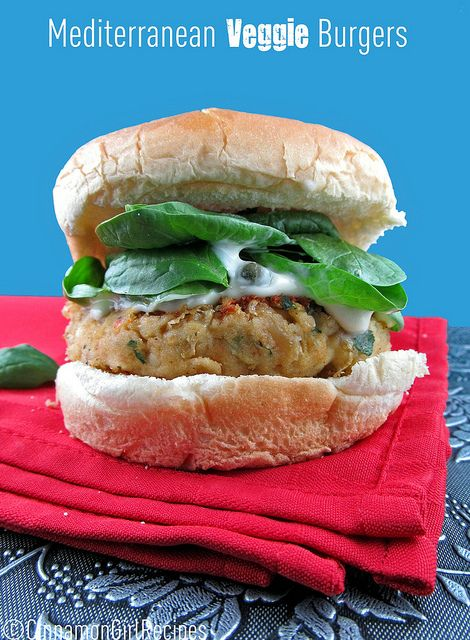 Mediterranean Veggie Burgers with Lemon Caper Mayo from Cinnamon Girl ...