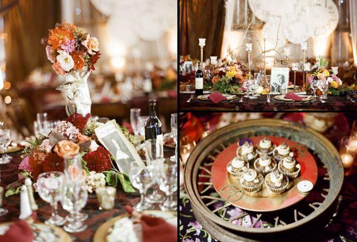 Steampunk wedding decor centerpieces pinterest for Victorian steampunk decor