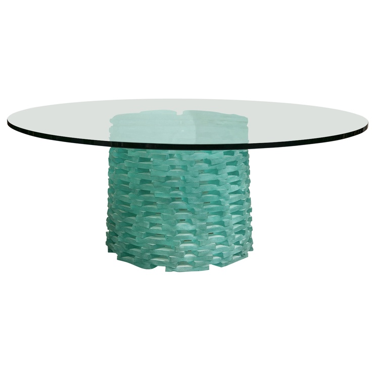 Round Cocktail Table With Fused Glass Base