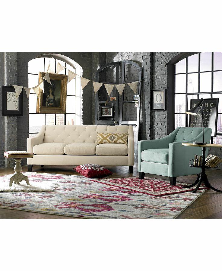 Velvet metro sofa living room furniture collection furniture macy
