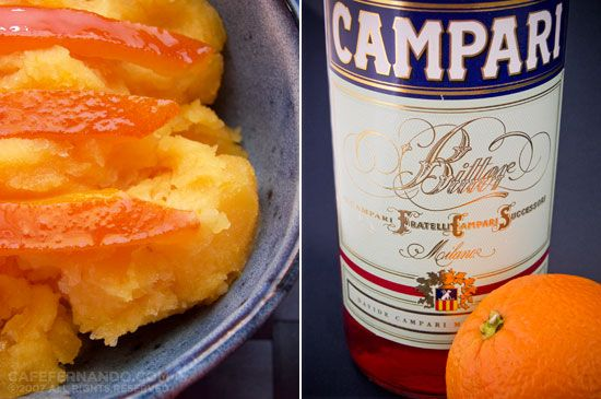 CAMPARI ORANGE SORBET Ingredients Sorbet 2+1/2 cups fresh orange juice ...