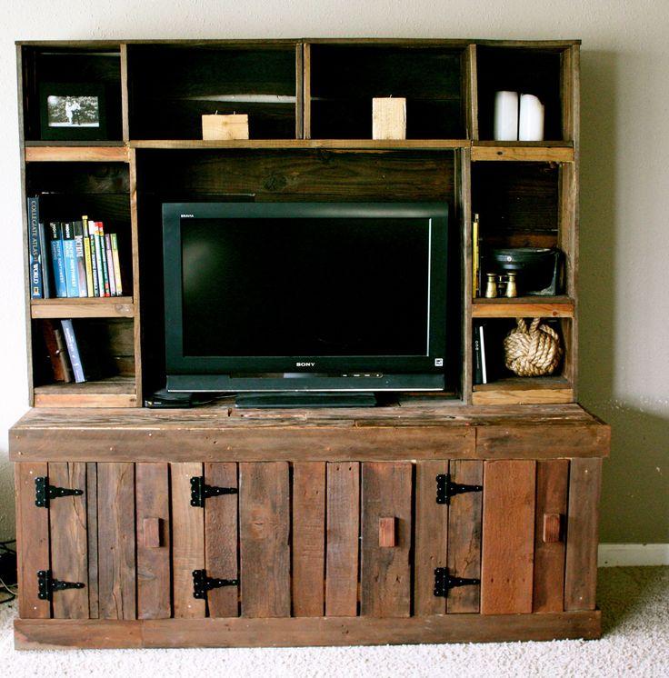 Pallet entertainment center things i like pinterest - Wooden tv wall shelf ...
