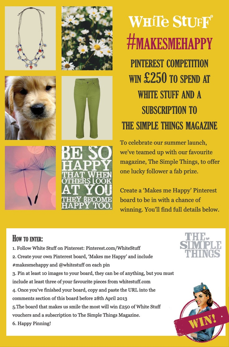 Create your own #makesmehappy board to be in with a chance of winning £250 to spend at White Stuff and a year's subscription to the @The Simple Things #win #comp