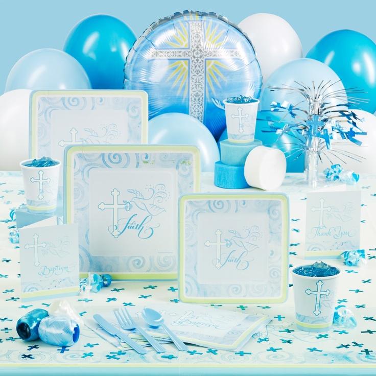 Baptism table decorations jesse and josephs baptism pinterest - Baptism party decoration ideas ...