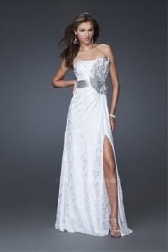 silver and white prom dress