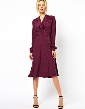 Image 1 of ASOS Midi Dress With Pussybow In Dragon Jacquard