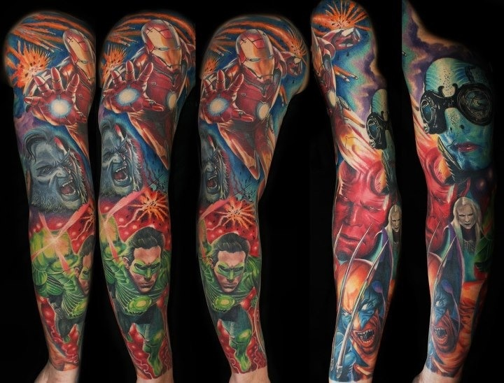 Superhero tattoo sleeve car interior design for Superhero tattoo sleeve