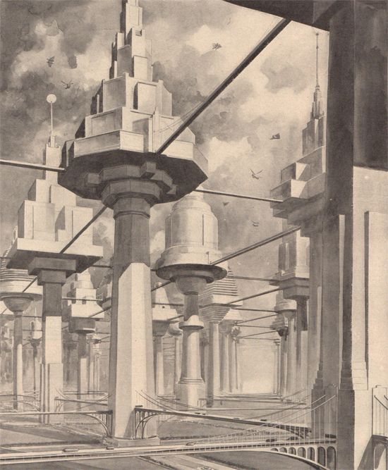 The city of the future as it was imagined by British writer R. H. Wilenski. 1934 Popular Science