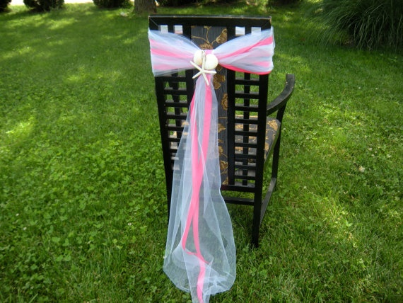 Wedding seashell chair sashes beach decor by jcbees on etsy 35 99