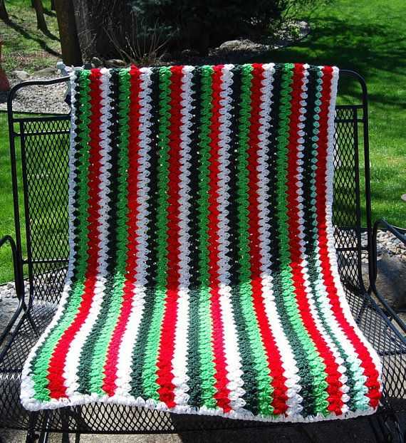 Christmas candy cane afghan by christmasvintage on etsy 22 00