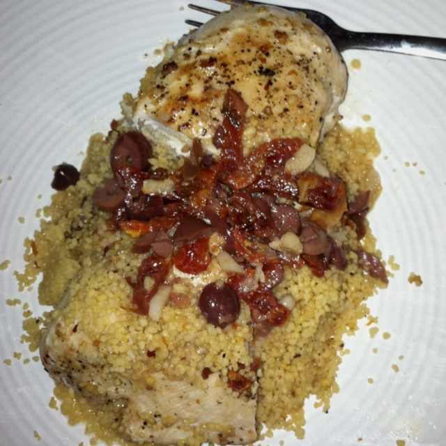 Cous Cous stuffed chicken breast with sundries tomatoes and kalamata ...