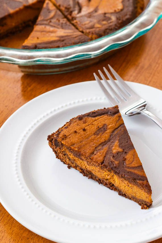 Homemade Pumpkin Pie - with Nutella Swirls and a gingersnap crust, or ...