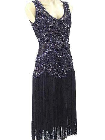 beaded fringe dress jazz baby flapper blue velvet vintage