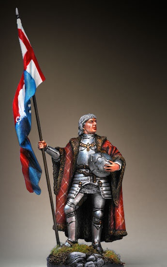 Sir Percival Thirlwall, standard bearer to King Richard III at the Battle of Bosworth Field in 1485 (Pegaso Models). Legend has it that Percival held the banner aloft even after having his legs cut out from under him. It didn't help the Yorkists in the end, though, as they were defeated and the reign of the Tudors began.