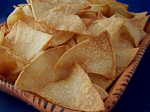 Homemade Baked Tortilla Chips: brush each tortilla w/ veg oil on both ...