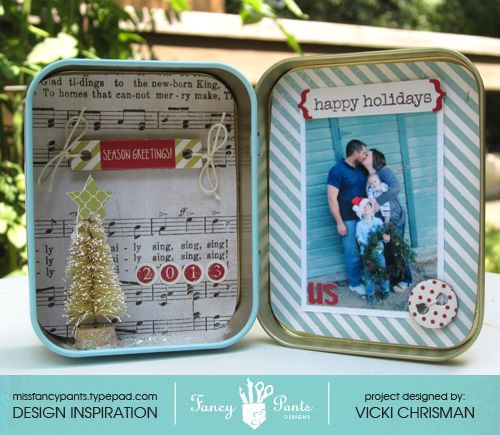"ADORRRABLE! Repurposed Altoid tin to make a mini Christmas shadow box using the ""Merry Little Christmas"" collection by www.fancypantsdesigns.com."