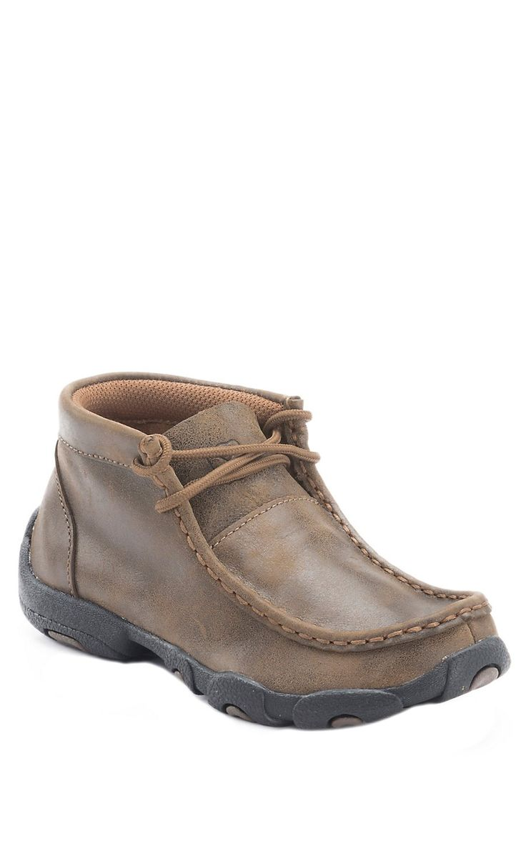 Twisted X® Kids Bomber Brown Driving Moccasin Lace Up Casual Shoes