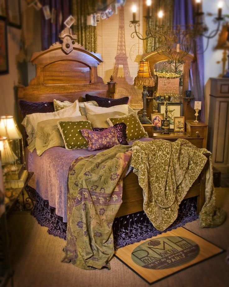 bohemian bed bedroom pinterest
