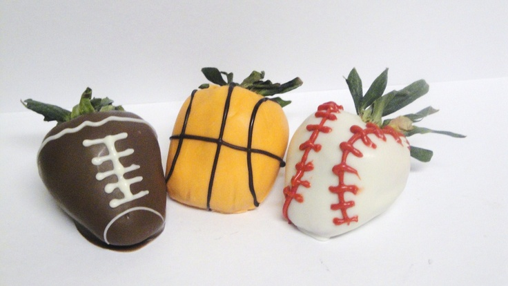 sports chocolate covered strawberries (football, baseball and ...