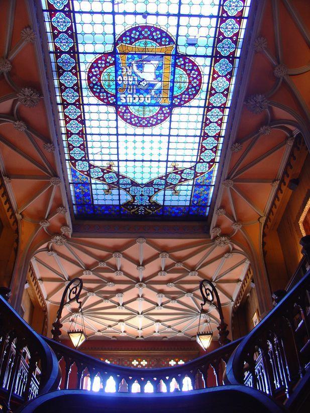 The skylight inside the bookstore Lello in Porto.