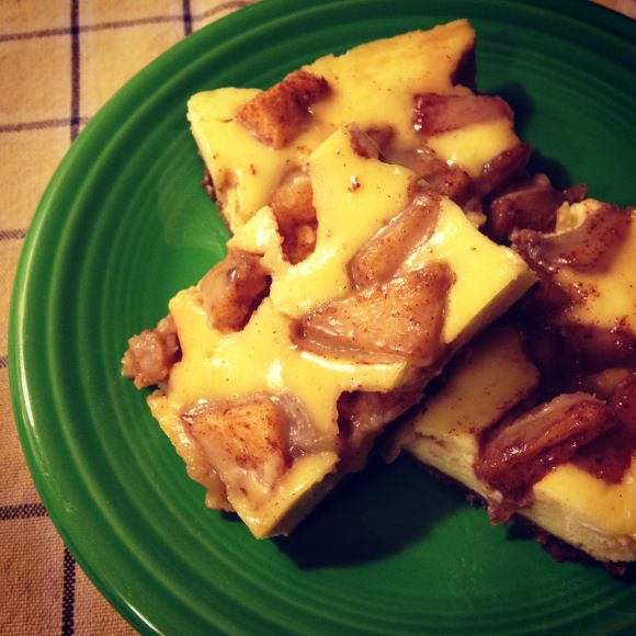 caramel apple cheesecake bars...use an almond meal crust.