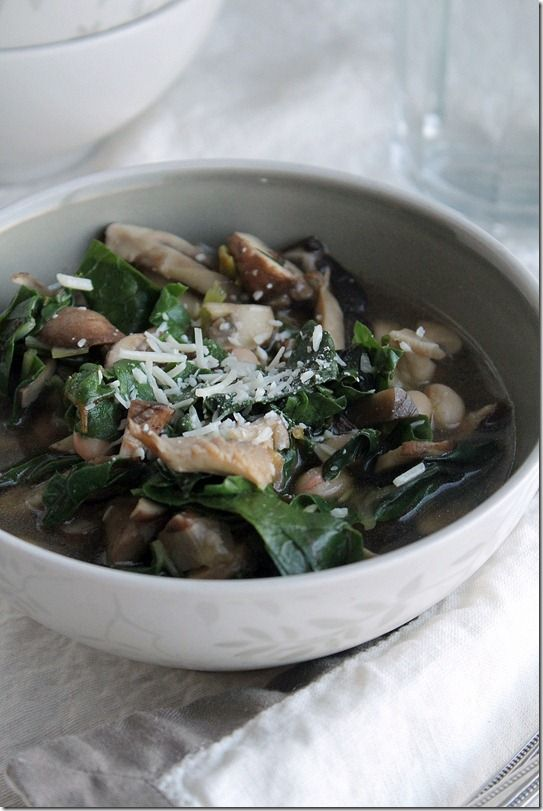 Mushroom + Swiss Chard Soup from yesiwantcake.com