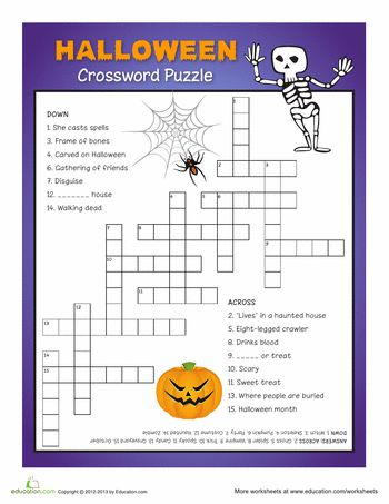Creepy Halloween Crossword Puzzle Halloween riddles and