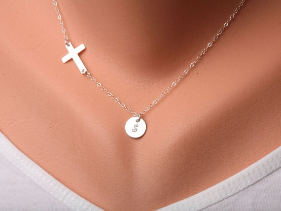 Sideways cross necklace with initial charmInitial by tydesign, $37.50